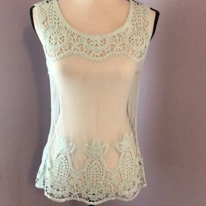 Mint green embroidery tank top